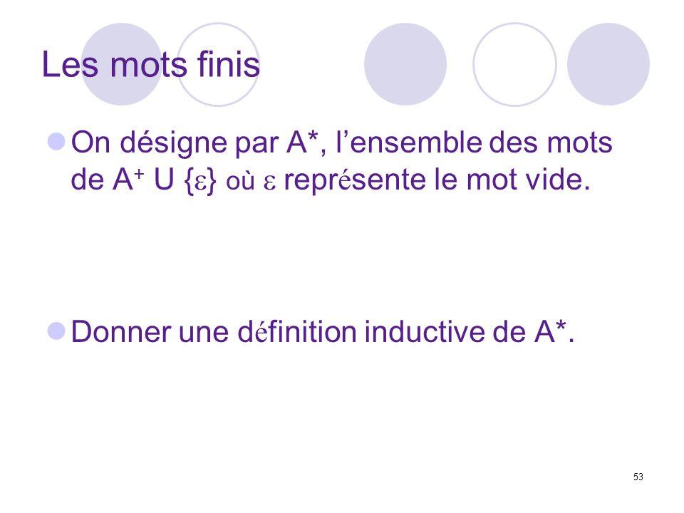 Les mots finis On désigne par A*, l'ensemble des mots de A+ U {e} où e représente le mot vide.