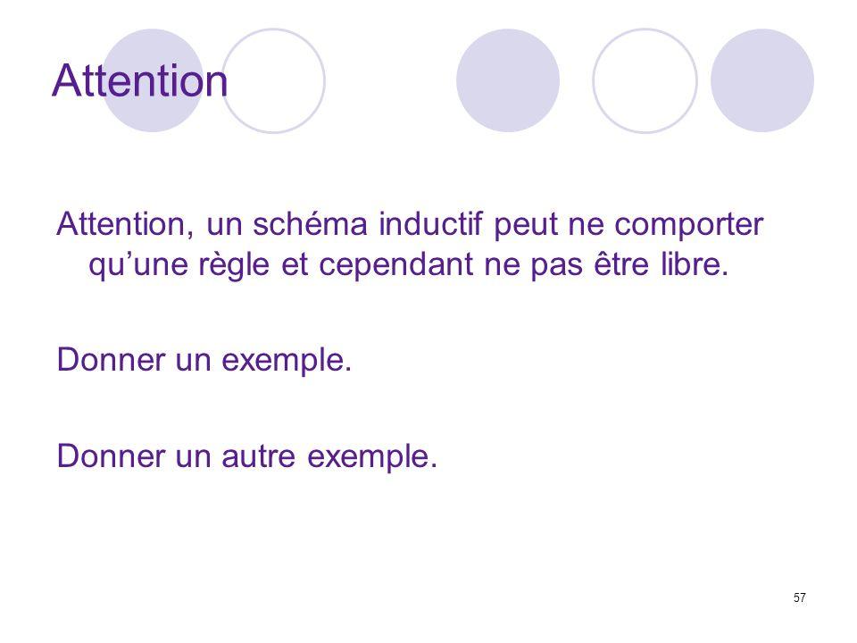 Attention Attention, un schéma inductif peut ne comporter qu'une règle et cependant ne pas être libre.