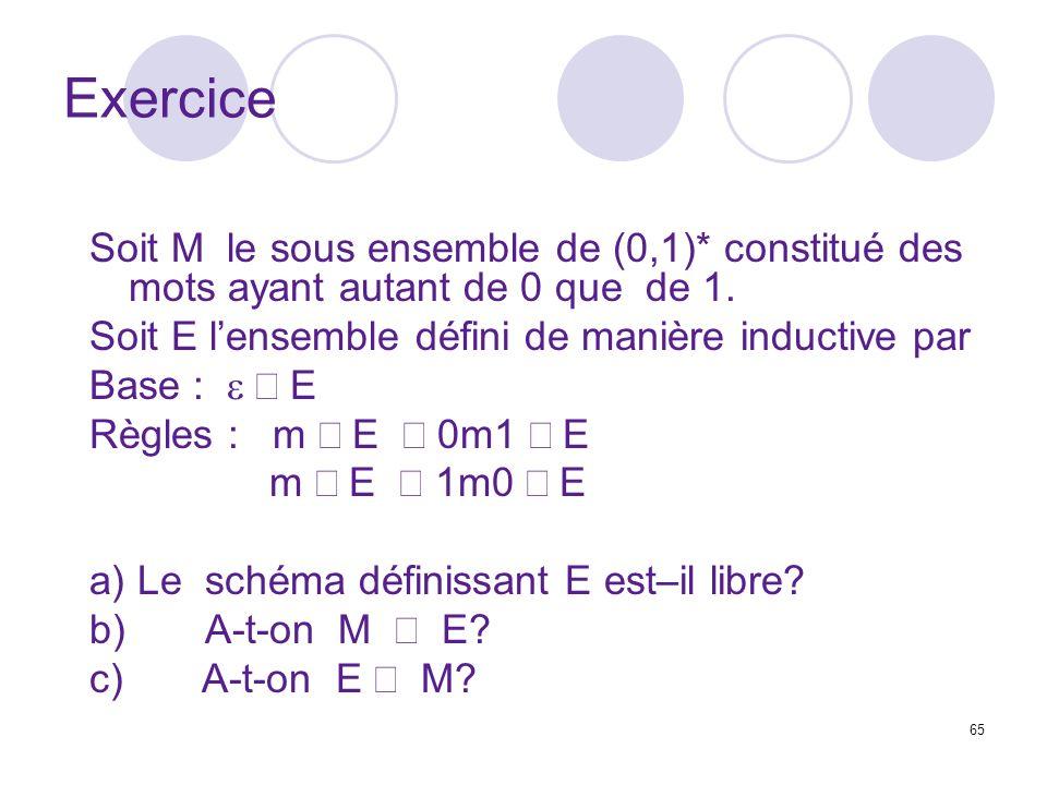 Exercice Soit M le sous ensemble de (0,1)* constitué des mots ayant autant de 0 que de 1. Soit E l'ensemble défini de manière inductive par.