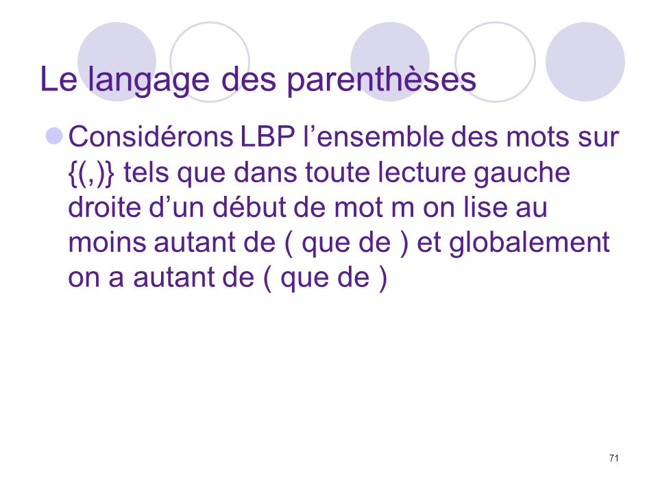 Le langage des parenthèses