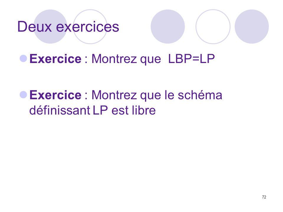 Deux exercices Exercice : Montrez que LBP=LP