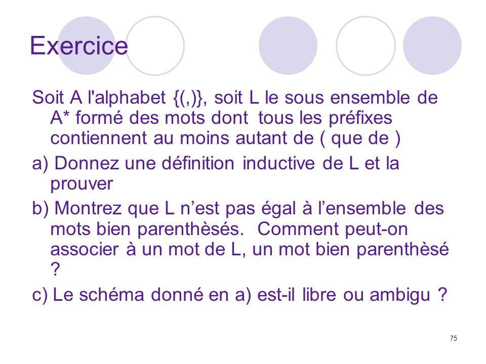 Exercice Soit A l alphabet {(,)}, soit L le sous ensemble de A* formé des mots dont tous les préfixes contiennent au moins autant de ( que de )