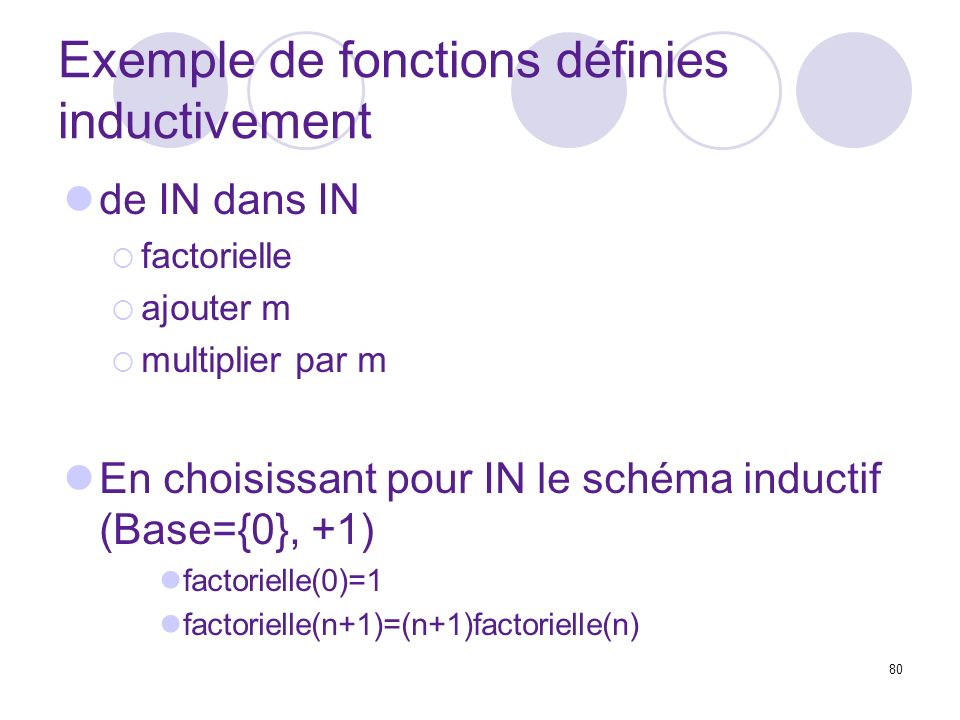 Exemple de fonctions définies inductivement