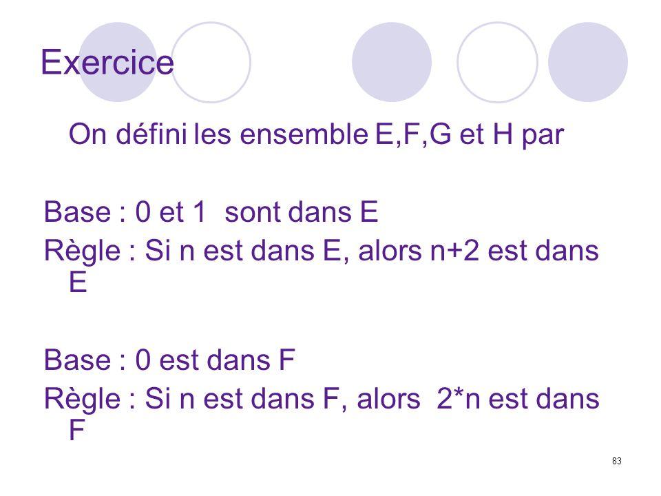 Exercice On défini les ensemble E,F,G et H par