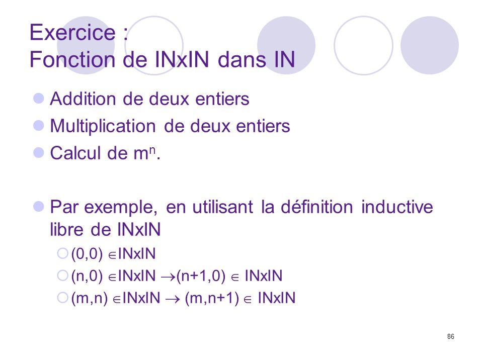 Exercice : Fonction de INxIN dans IN