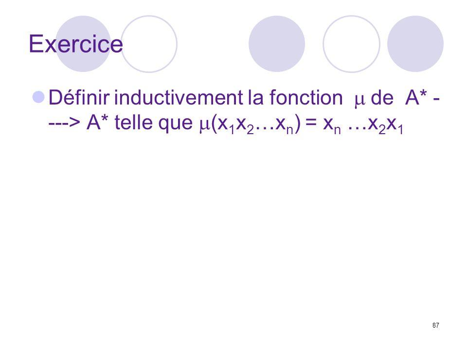 Exercice Définir inductivement la fonction m de A* ----> A* telle que m(x1x2…xn) = xn …x2x1