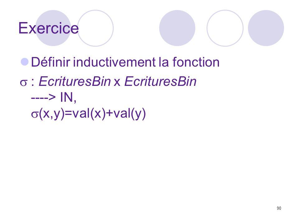 Exercice Définir inductivement la fonction