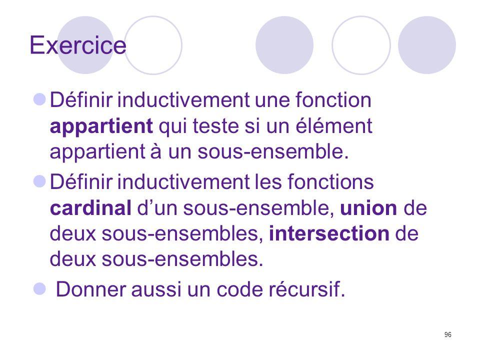 Exercice Définir inductivement une fonction appartient qui teste si un élément appartient à un sous-ensemble.
