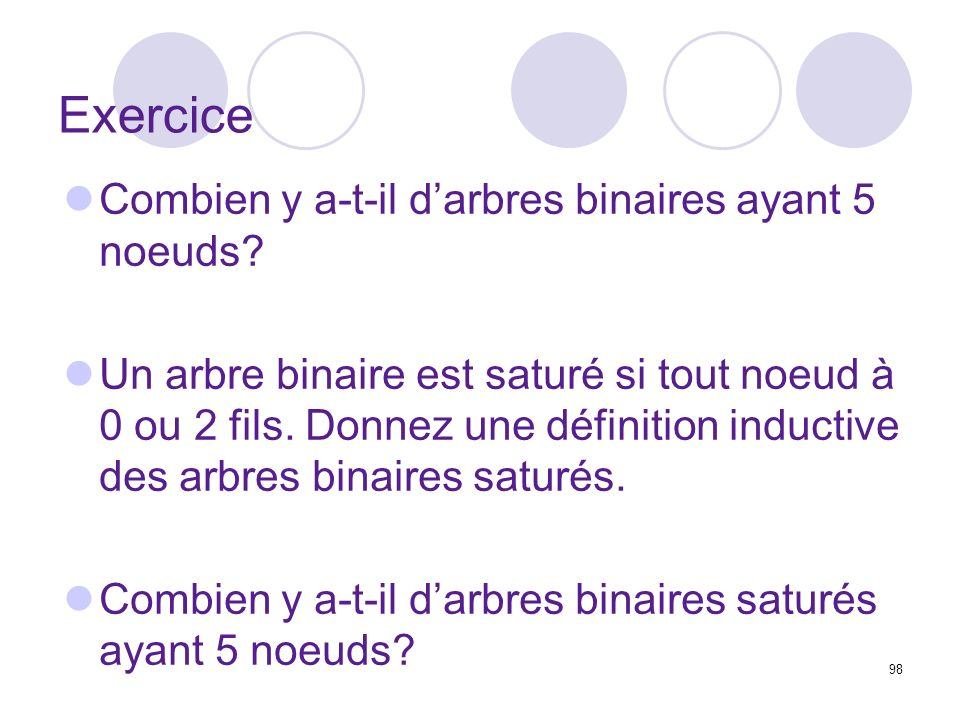 Exercice Combien y a-t-il d'arbres binaires ayant 5 noeuds