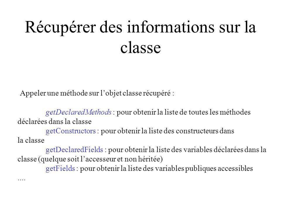 Récupérer des informations sur la classe