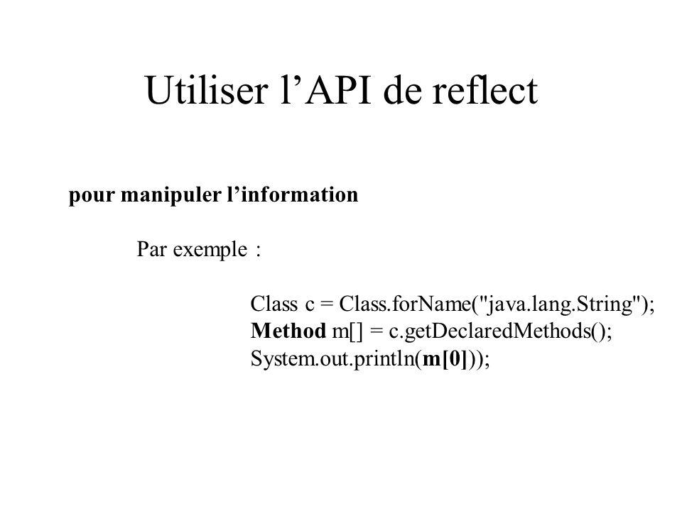 Utiliser l'API de reflect