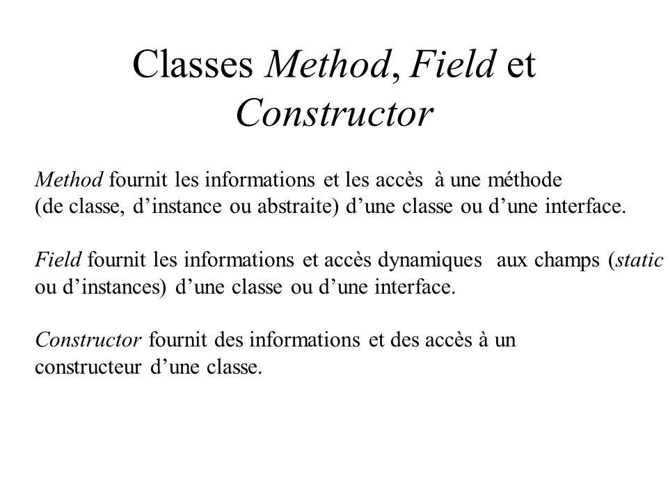 Classes Method, Field et Constructor