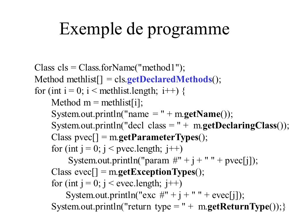 Exemple de programme Class cls = Class.forName( method1 );