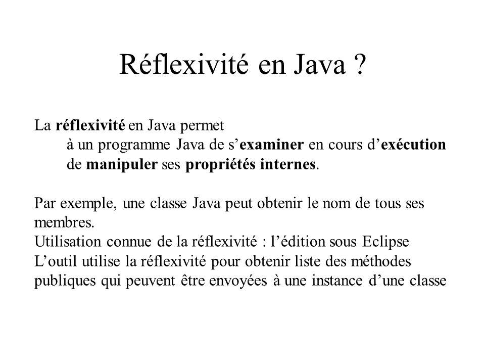 Réflexivité en Java La réflexivité en Java permet
