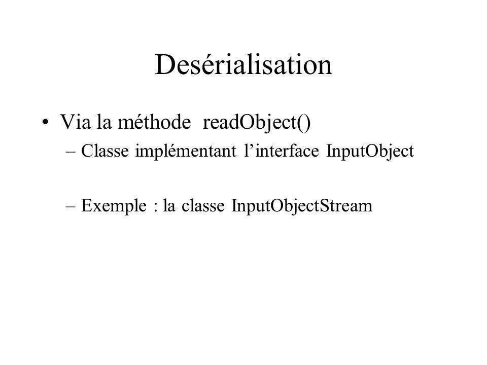 Desérialisation Via la méthode readObject()