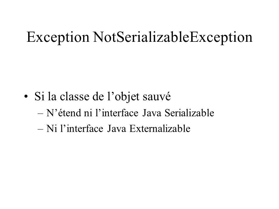 Exception NotSerializableException
