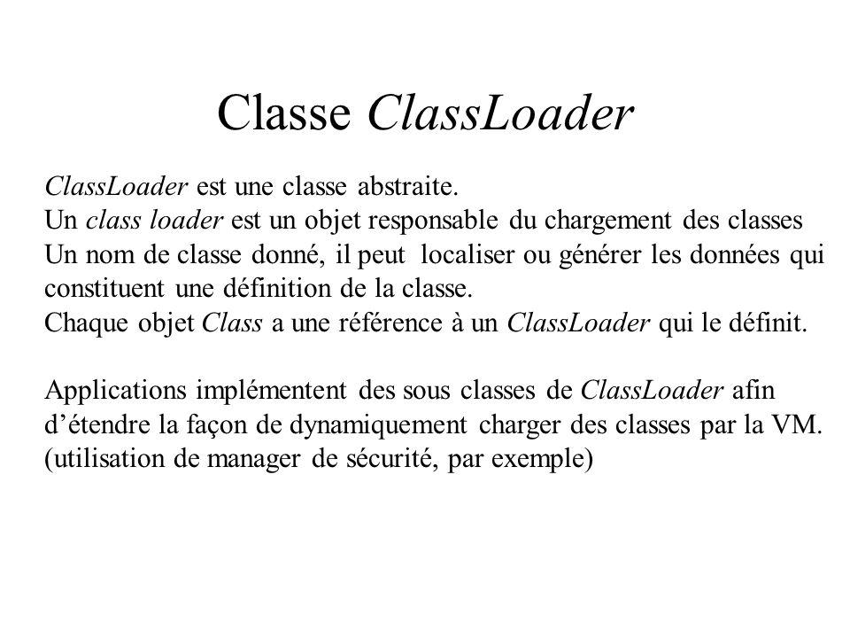 Classe ClassLoader ClassLoader est une classe abstraite.