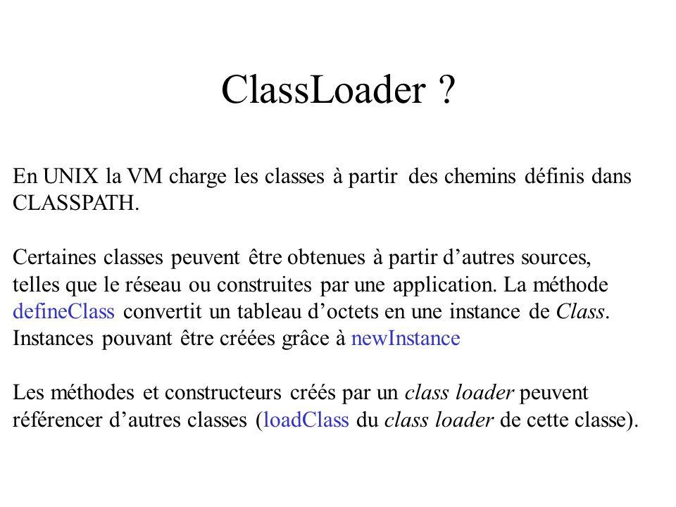 ClassLoader En UNIX la VM charge les classes à partir des chemins définis dans. CLASSPATH.