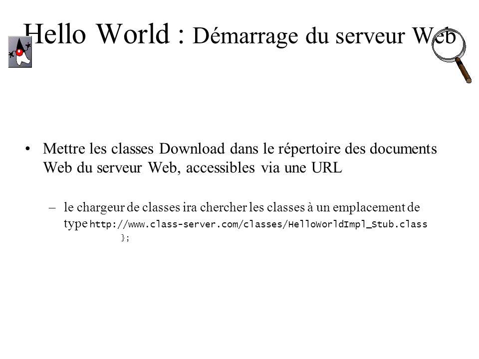 Hello World : Démarrage du serveur Web