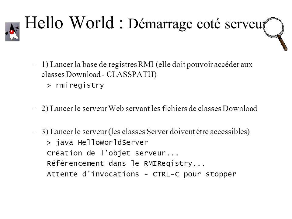 Hello World : Démarrage coté serveur