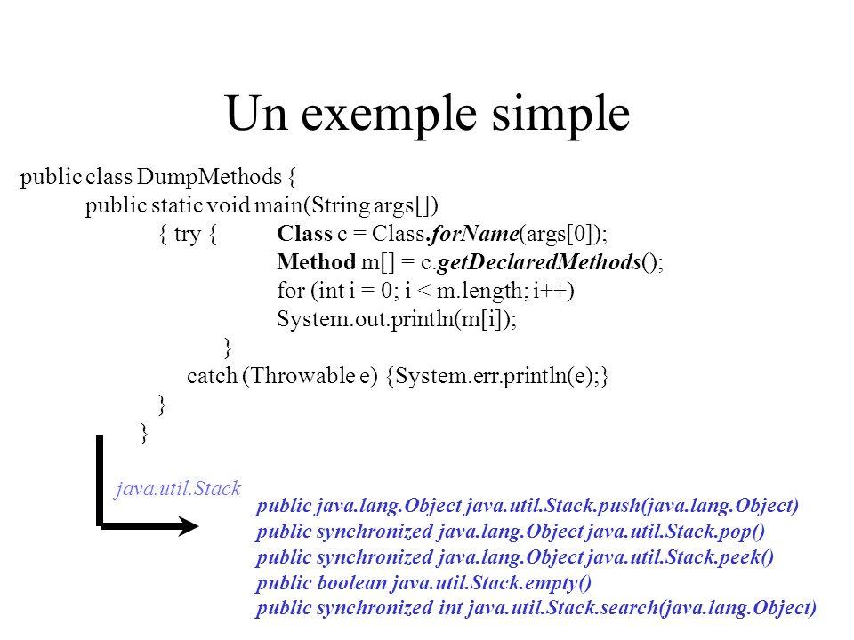 Un exemple simple public class DumpMethods {