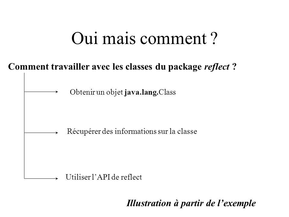 Oui mais comment Comment travailler avec les classes du package reflect Obtenir un objet java.lang.Class.
