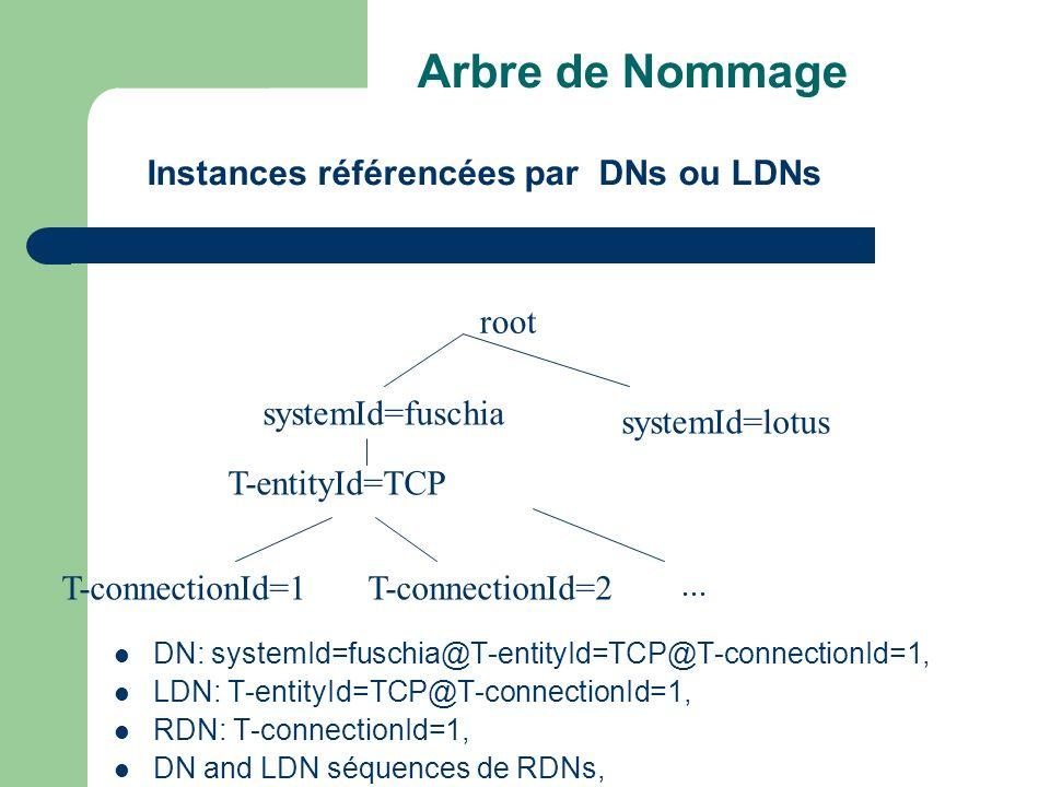 Arbre de Nommage Instances référencées par DNs ou LDNs root