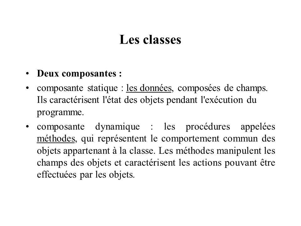 Les classes Deux composantes :