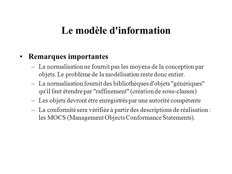 Le modèle d information