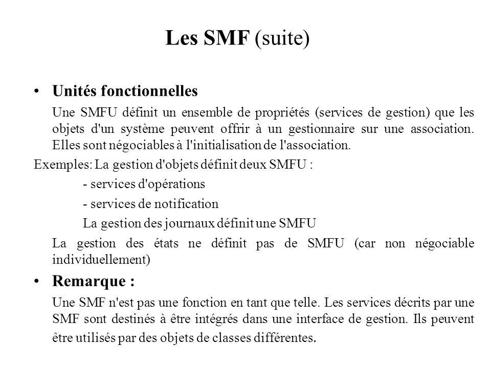 Les SMF (suite) Unités fonctionnelles Remarque :