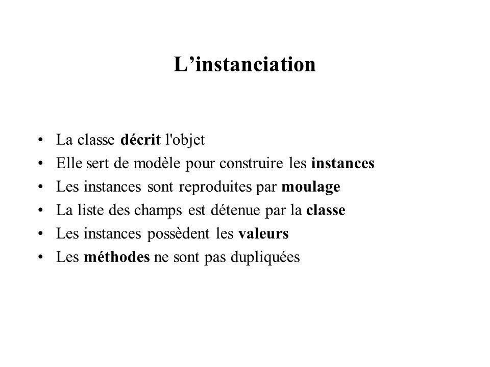 L'instanciation La classe décrit l objet