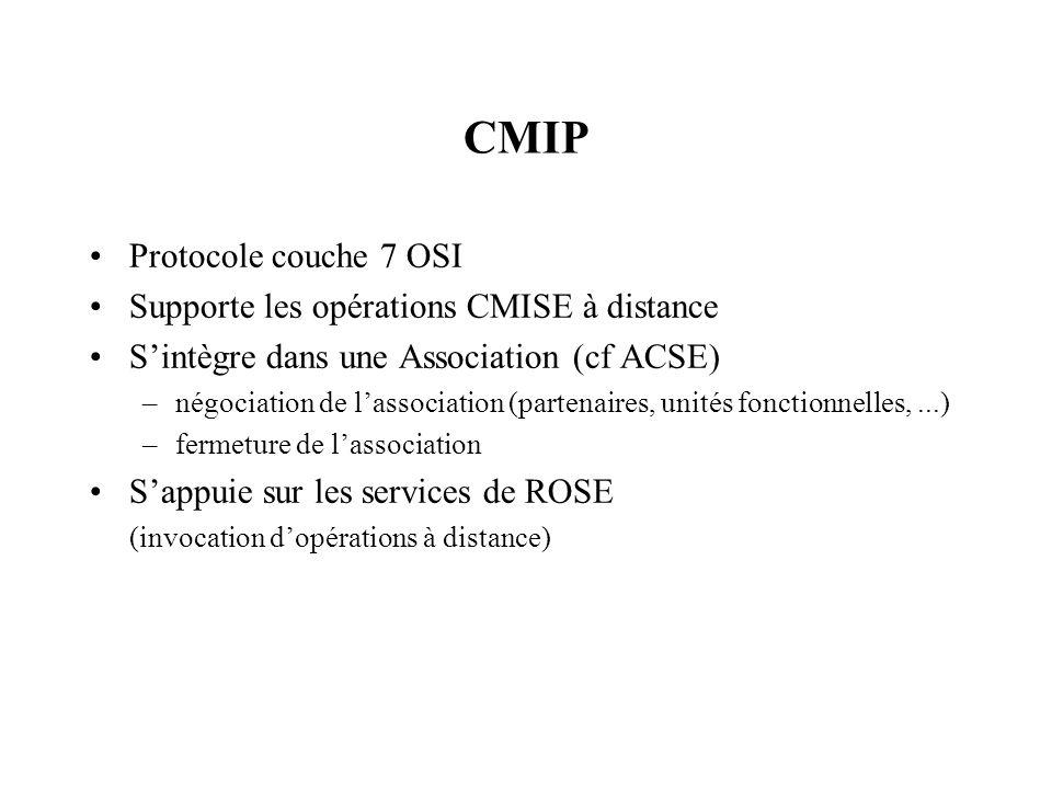 CMIP Protocole couche 7 OSI Supporte les opérations CMISE à distance