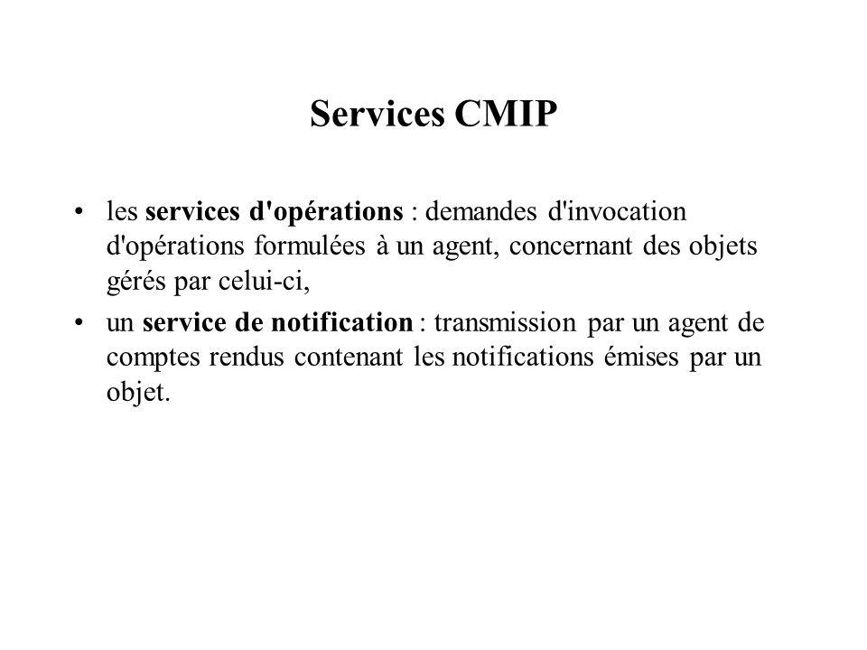 Services CMIP les services d opérations : demandes d invocation d opérations formulées à un agent, concernant des objets gérés par celui-ci,
