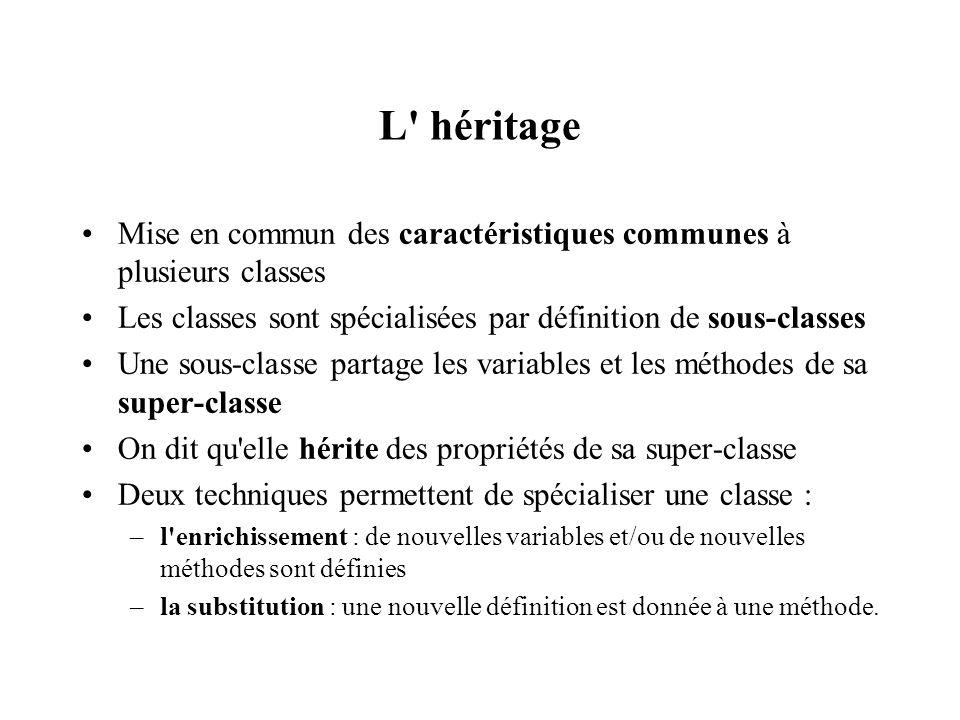 L héritage Mise en commun des caractéristiques communes à plusieurs classes. Les classes sont spécialisées par définition de sous-classes.