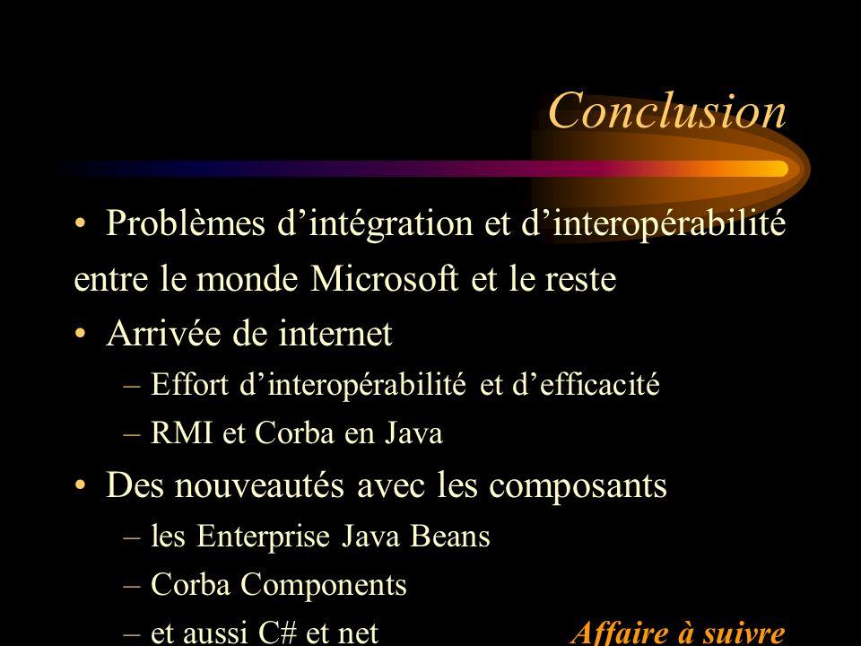 Conclusion Problèmes d'intégration et d'interopérabilité
