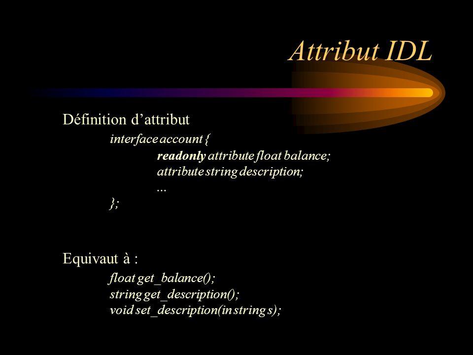 Attribut IDL Définition d'attribut interface account { Equivaut à :