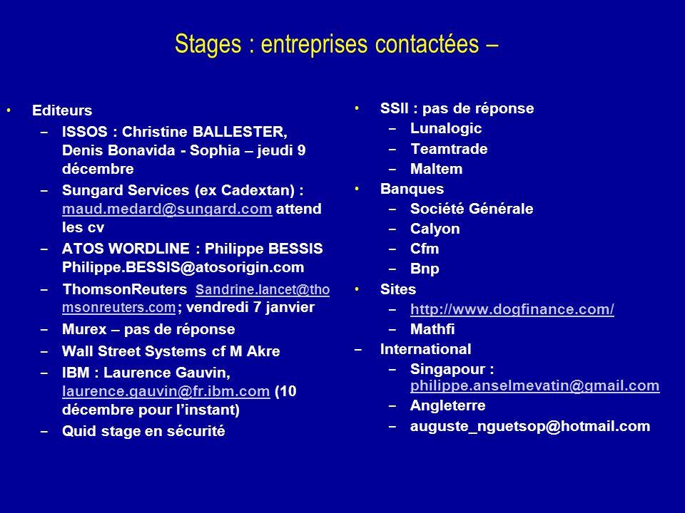 Stages : entreprises contactées –