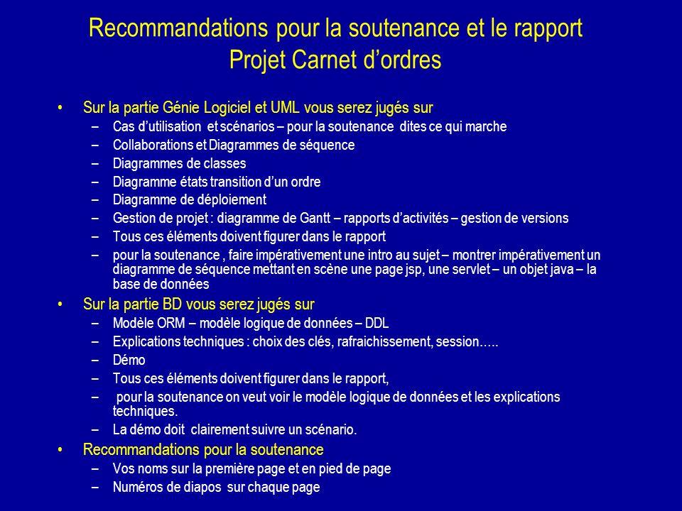 Recommandations pour la soutenance et le rapport Projet Carnet d'ordres