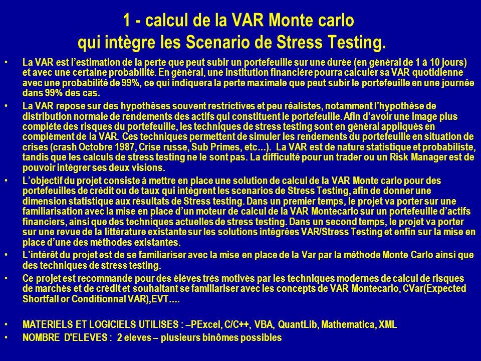 1 - calcul de la VAR Monte carlo qui intègre les Scenario de Stress Testing.