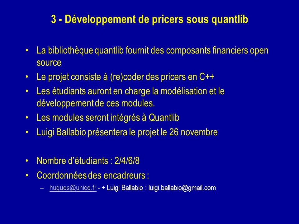 3 - Développement de pricers sous quantlib
