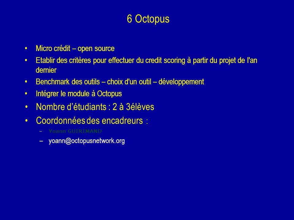 6 Octopus Nombre d'étudiants : 2 à 3élèves
