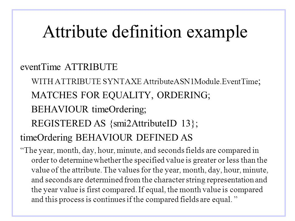 Attribute definition example