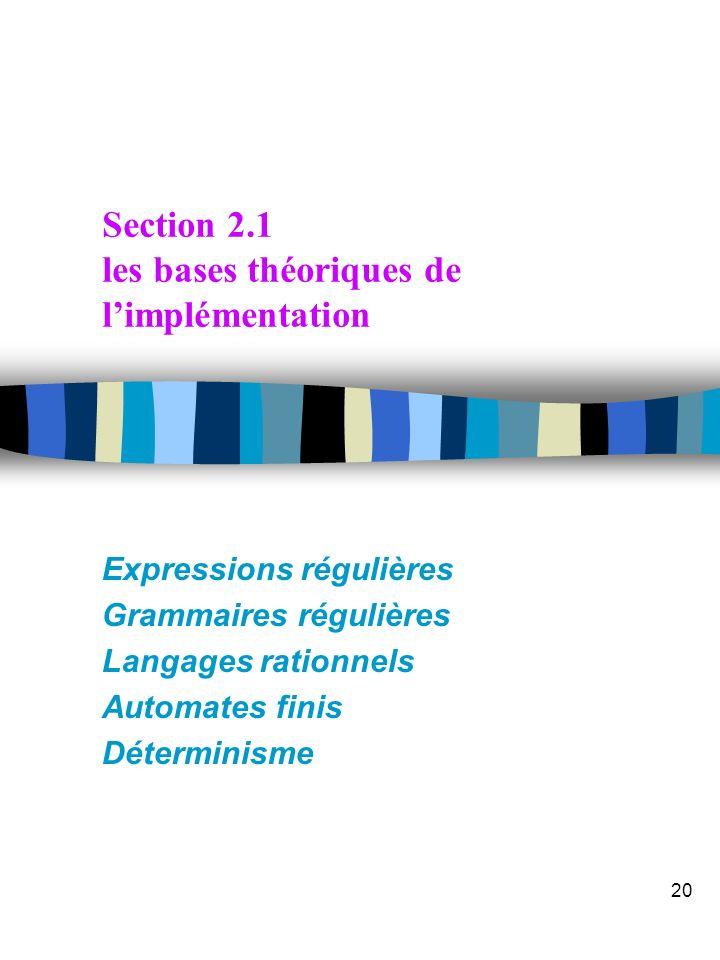 Section 2.1 les bases théoriques de l'implémentation