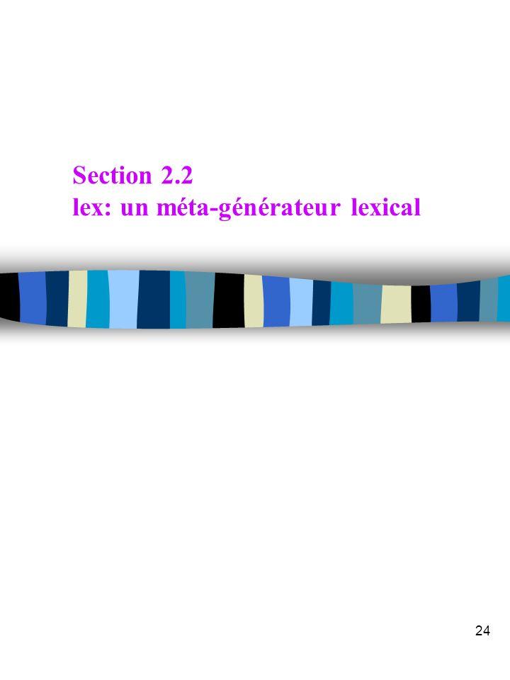 Section 2.2 lex: un méta-générateur lexical