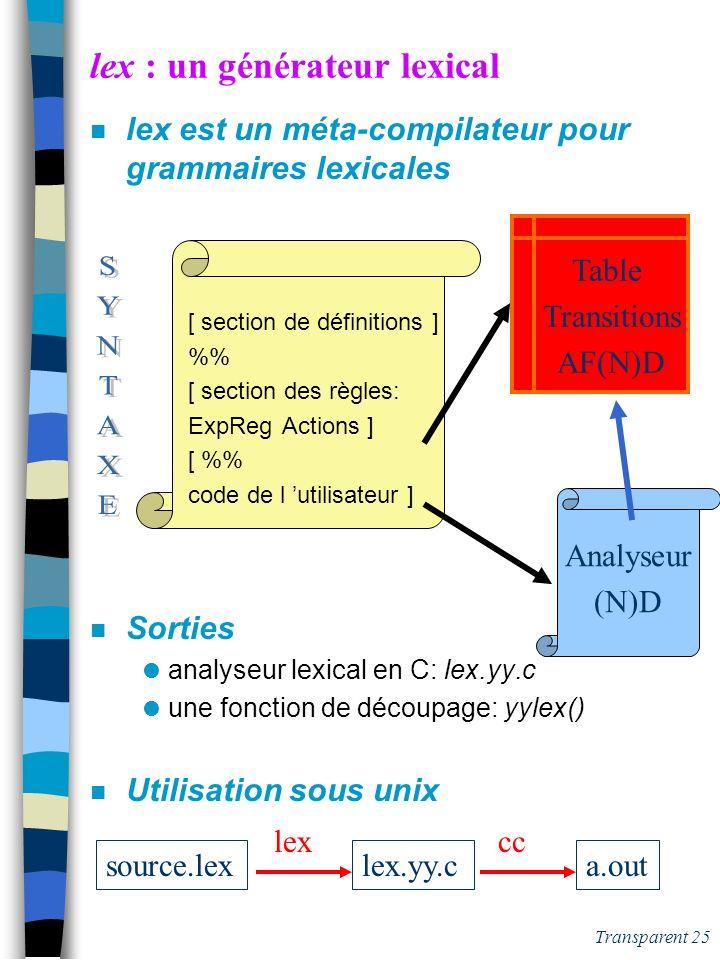 lex : un générateur lexical