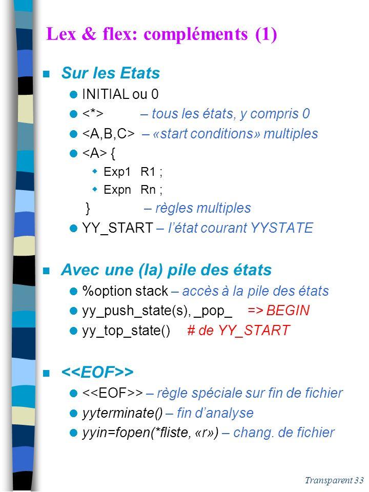 Lex & flex: compléments (1)