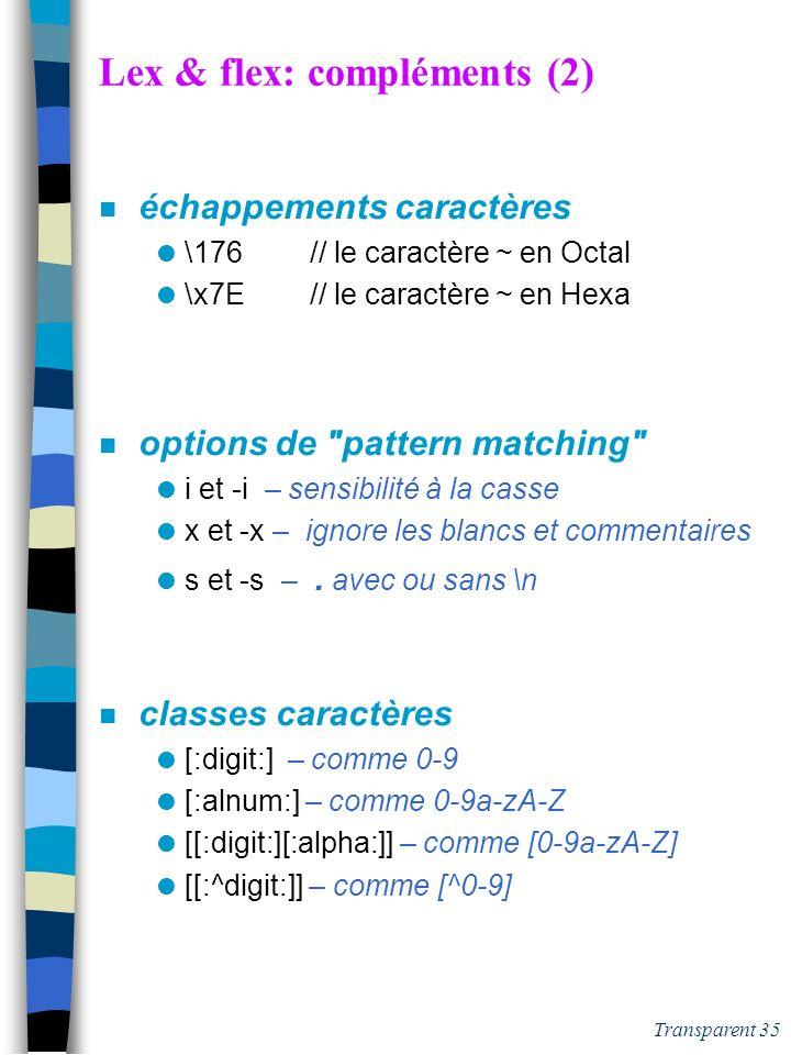 Lex & flex: compléments (2)