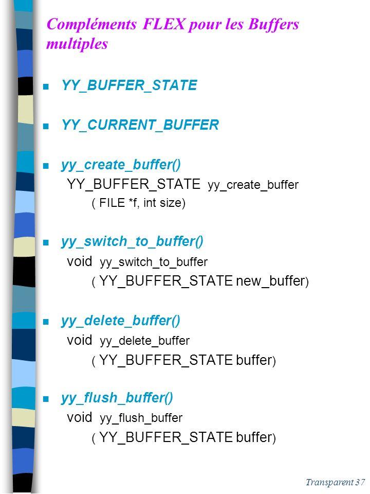 Compléments FLEX pour les Buffers multiples