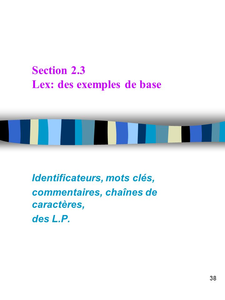 Section 2.3 Lex: des exemples de base