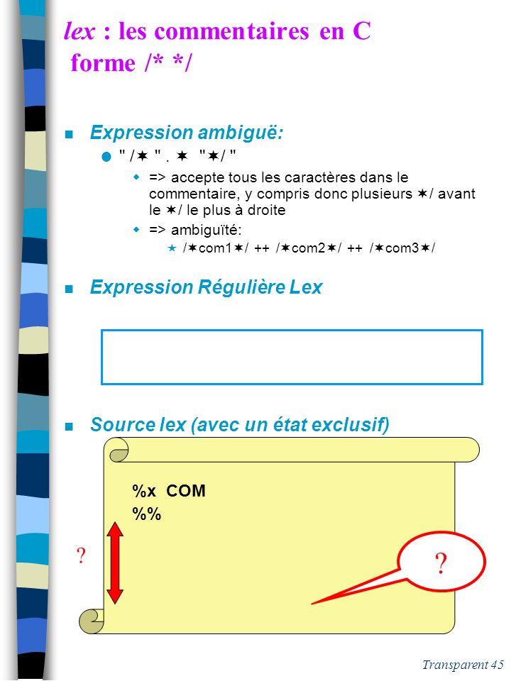 lex : les commentaires en C forme /* */